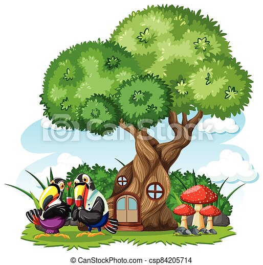 Tree house with three bird cartoon style on white background - csp84205714