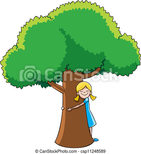 Tree Hugger Little Girl Hugging Tree No Transparency And Gradients