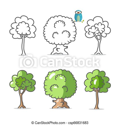 Tree Icon. Vector Trees Symbols Isolated on White Background. - csp66831683