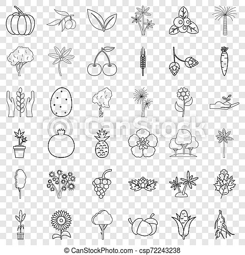 Tree icons set, outline style - csp72243238