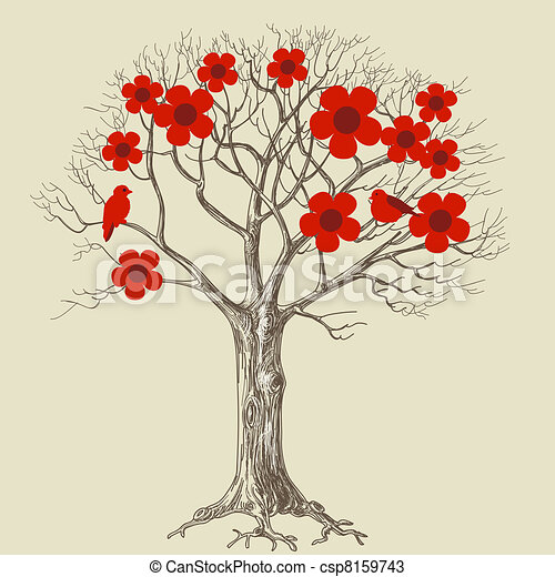 Tree in bloom and love birds - csp8159743