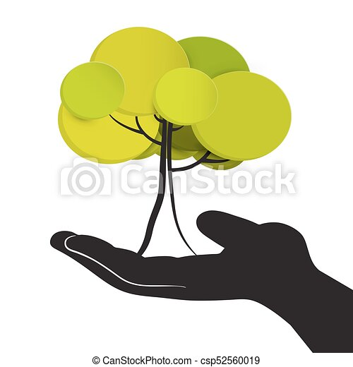 Tree in Human Hand.Vector Illustration Isolated on White Background. - csp52560019