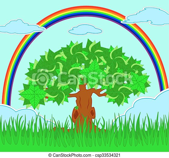 tree in the field and rainbow on the sky - csp33534321