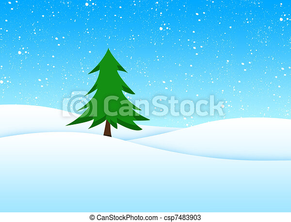 Tree in winter landscape - csp7483903