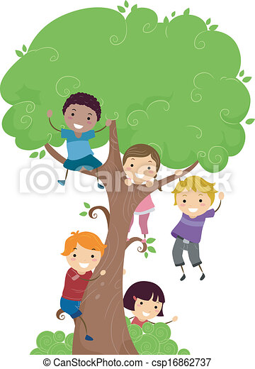 Tree kids. Illustration of kids hanging from a tree.