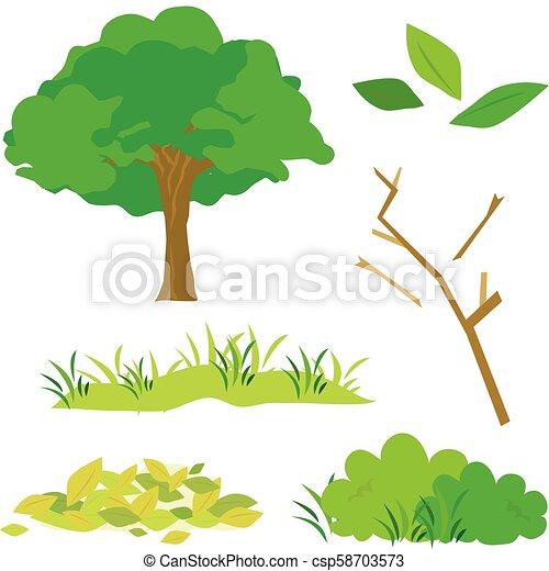 Tree Leaves Grass Bush Branch Flora Cartoon Vector - csp58703573