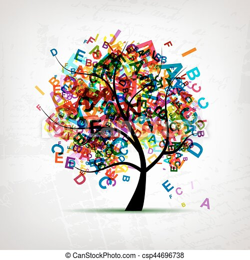 tree, letter, concept, english, vector - csp44696738