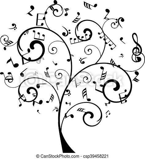 Tree notes vector tree with musical notes for Note musicali dwg