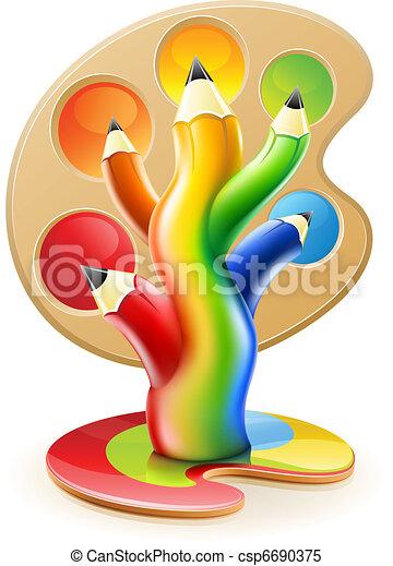 tree of colour pencils creative art concept - csp6690375