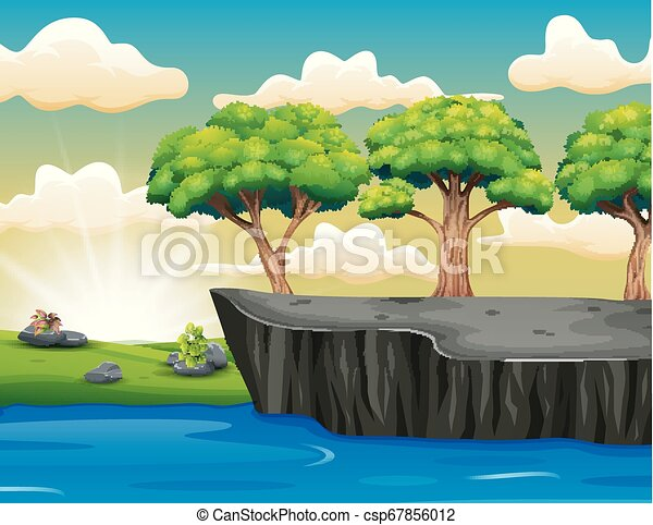 Tree on the Cliff Scenery with Grass, Sea, Sky And Clouds - csp67856012
