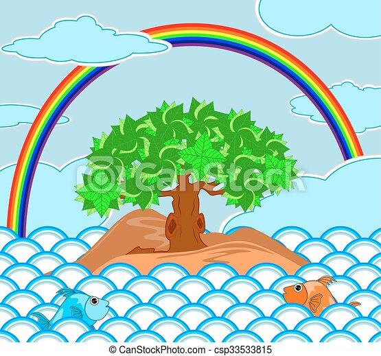 tree on the island at sea with rainbow on the sky - csp33533815