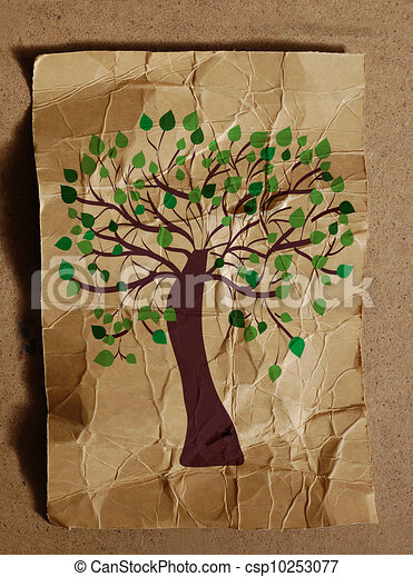 Tree on the paper texture background - csp10253077
