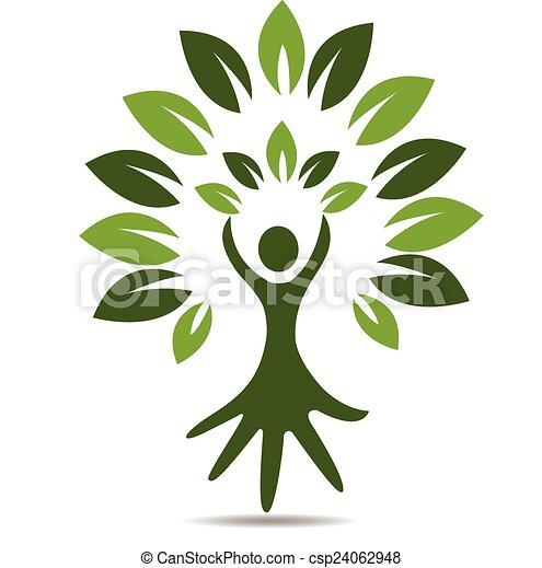 Tree people hand symbol logo - csp24062948