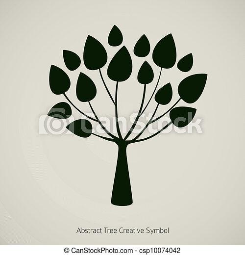 Tree plant vector illustration. Nature abstract design symbol - csp10074042