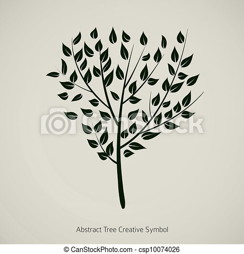 Tree plant vector illustration. Nature abstract design symbol - csp10074026
