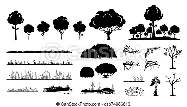 Tree, plants, and grass vector graphic design. - csp74986813