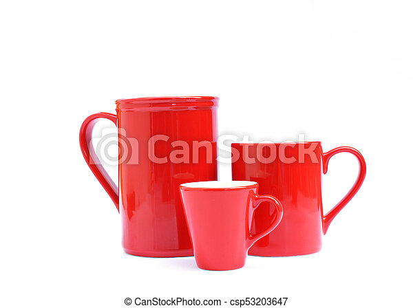 Tree red cups Isolated on white backgrounds - csp53203647