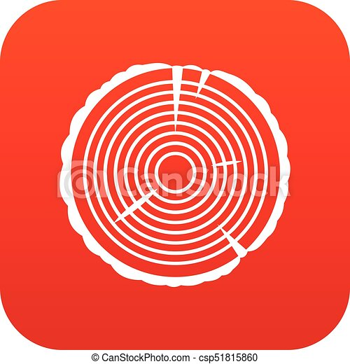 Tree Ring Icon Digital Red For Any Design Isolated On White Vector