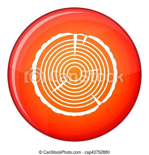 Tree ring icon, flat style - csp43752880