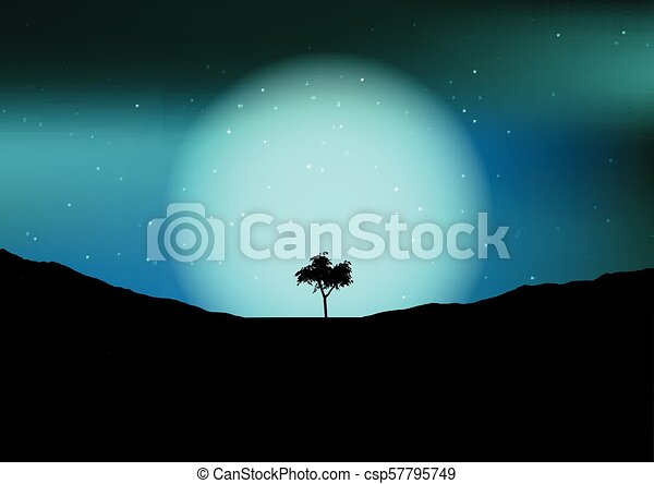 tree silhouette against a night sky 1105 - csp57795749