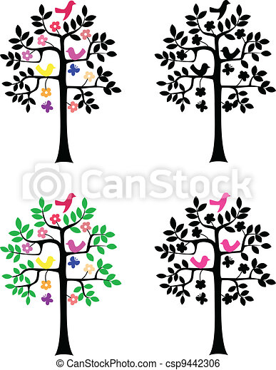Tree silhouette on white background - csp9442306