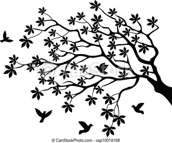 Tree silhouette with bird flying - csp10019168