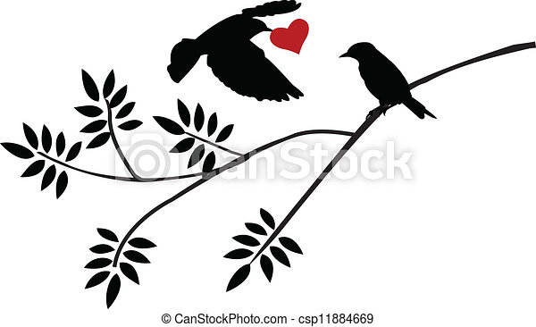 tree silhouette with bird flying - csp11884669