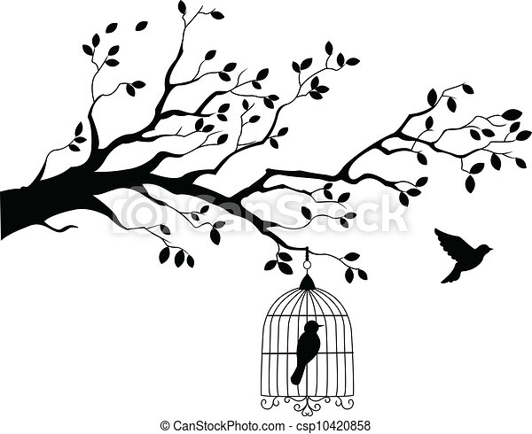 Tree silhouette with bird flying - csp10420858