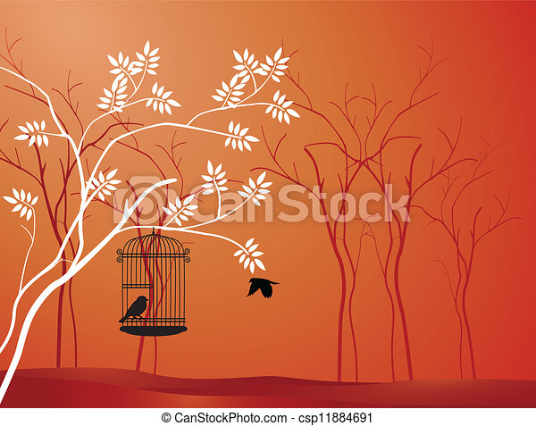 tree silhouette with bird flying - csp11884691