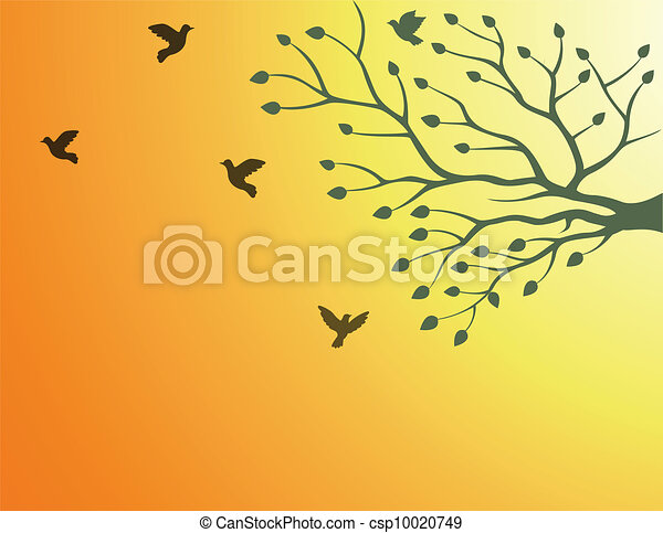 tree silhouette with bird flying - csp10020749