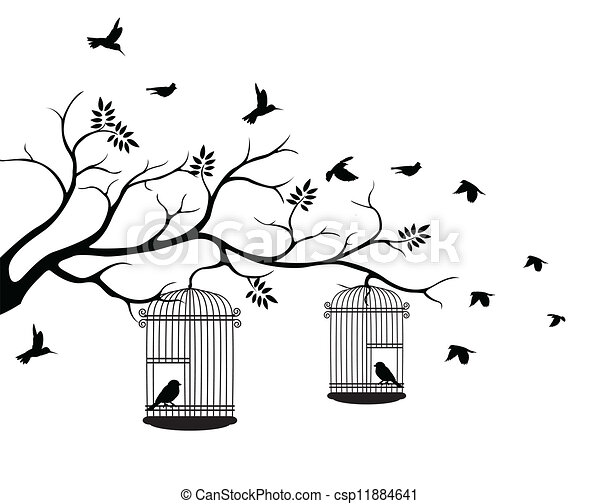 tree silhouette with bird flying - csp11884641