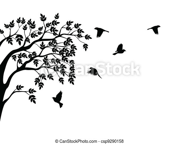 Tree silhouette with bird flying  - csp9290158