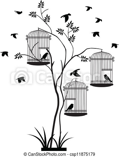 tree silhouette with bird flying - csp11875179
