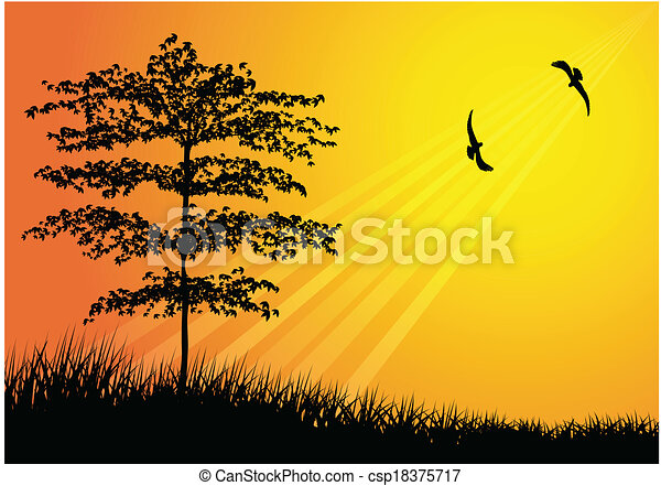 Tree silhouette with bird flying - csp18375717