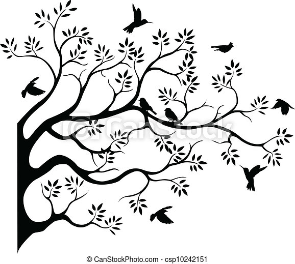 tree silhouette with bird fying - csp10242151