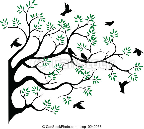 tree silhouette with bird fying - csp10242038