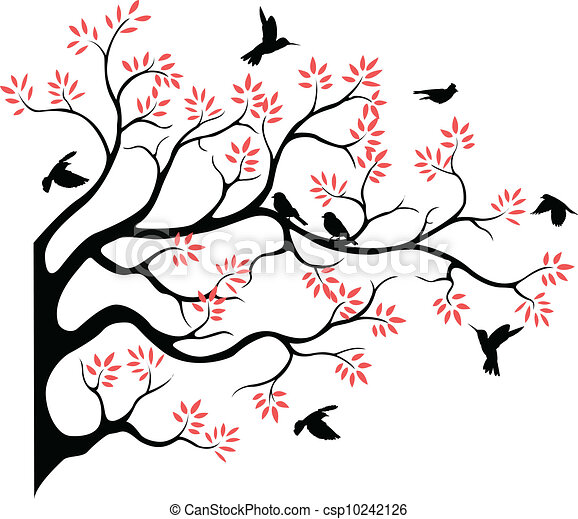 tree silhouette with bird fying - csp10242126