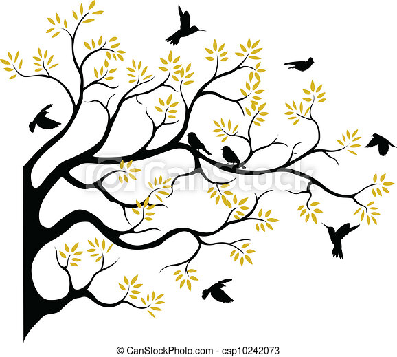 tree silhouette with bird fying - csp10242073