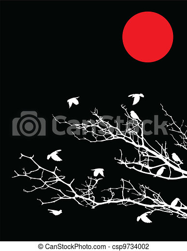 tree silhouette with birds and moon - csp9734002