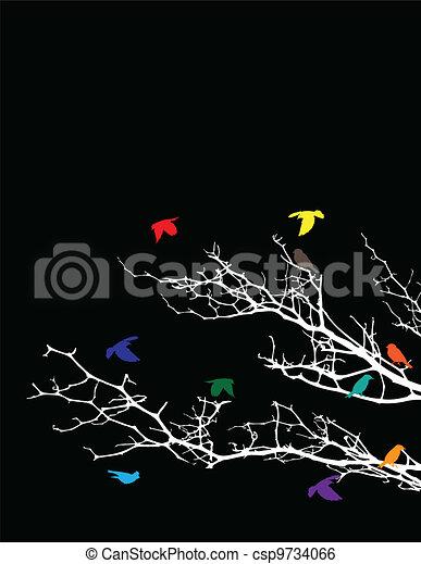 tree silhouette with birds - csp9734066