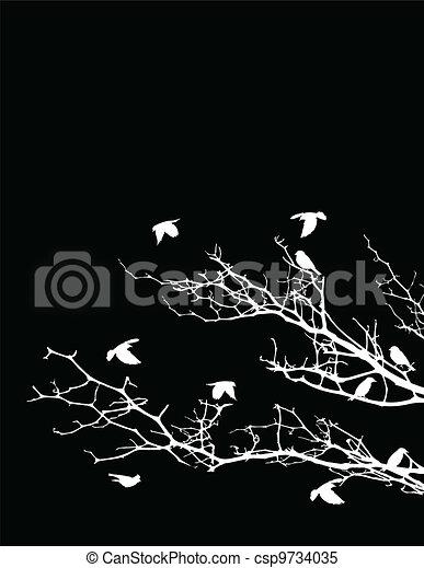 tree silhouette with birds - csp9734035