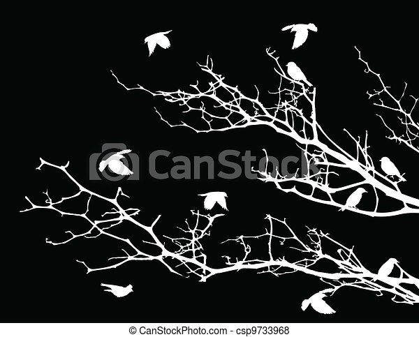 tree silhouette with birds - csp9733968