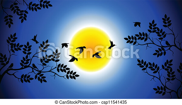 tree silhouette with birds flying - csp11541435