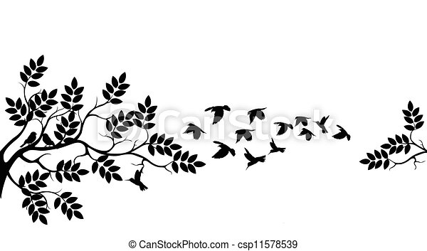 tree silhouette with birds flying - csp11578539