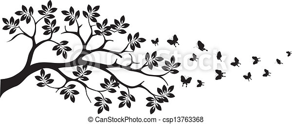 tree silhouette with butterfly - csp13763368