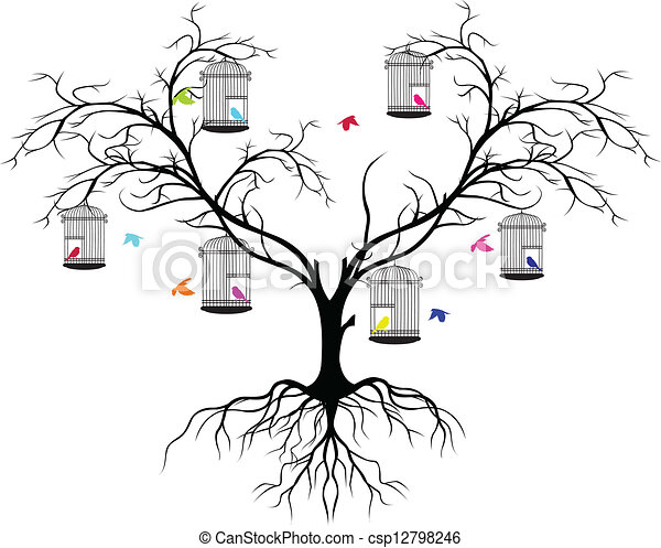 tree silhouette with color birds - csp12798246