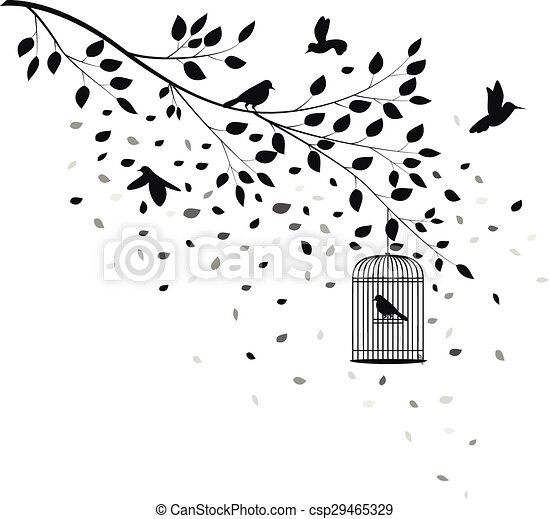 Tree silhouette with flying birds - csp29465329