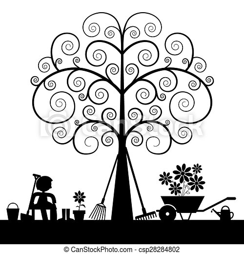Tree Silhouette with Gardening Tools and Sitting Man Vector Illustration - csp28284802