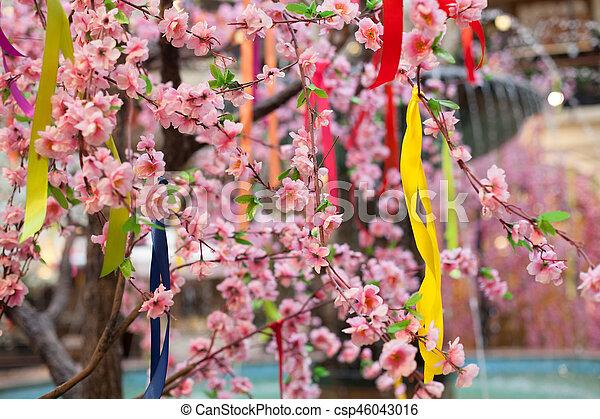 Tree spring blooms white flowers pink ribbon tree spring blooms white flowers pink csp46043016 mightylinksfo