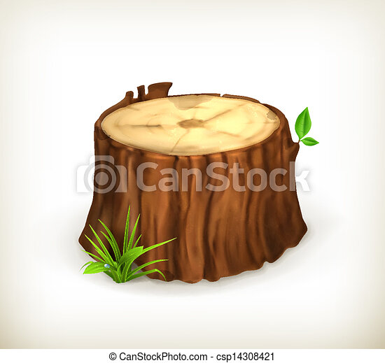Tree stump, vector - csp14308421